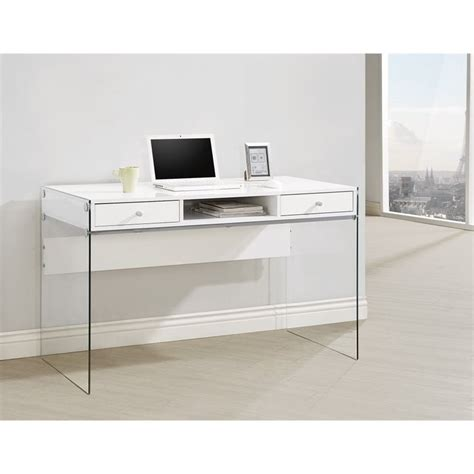 modern white computer desk coaster 2 drawer modern computer desk in glossy white 800829