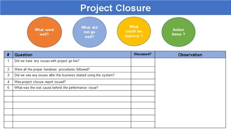 project closure template lessons learned template excel free project