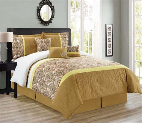 mustard yellow comforter 7 piece medallion quilted floral mustard comforter set