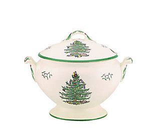 spode christmas tree 7 pint soup tureen cover qvc com