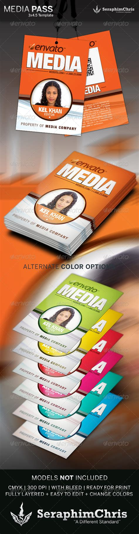 Media Pass Template Graphicriver Media Pass Template Photoshop