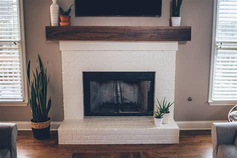 modern white brick fireplace walnut mantel diy the