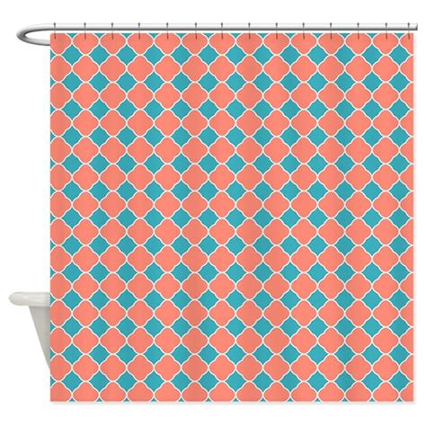 shower curtains coral colors coral teal blue quatrefoil shower curtain by printcreekstudio