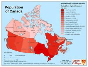 map of canada population population of canada map gis