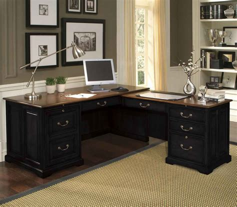 black home office desks black l shape desk for home office