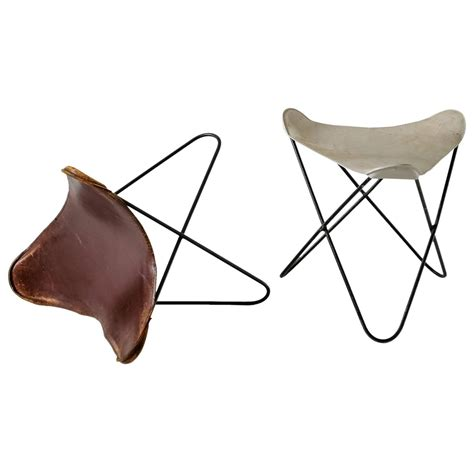 butterfly chair with ottoman pair butterfly ottomans or stools by jorge hardoy