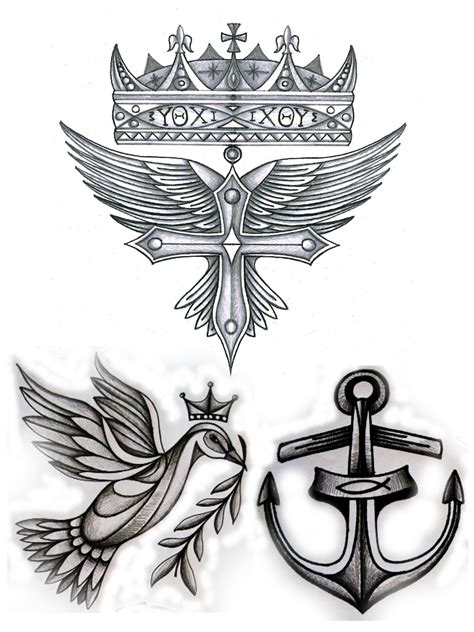 christian symbols cross crown fish anchor dove and