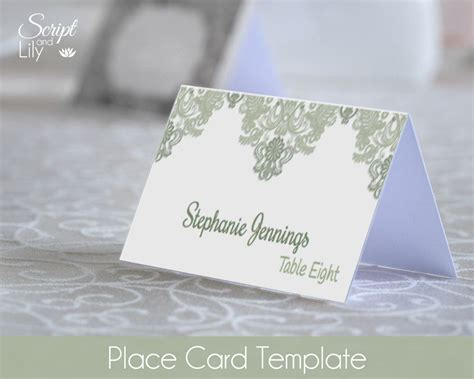 Editable Place Card Template by Green Place Name Cards Template Easy To Edit