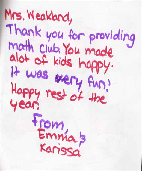 Thank You Note To Math Student Web Site Weakland After School Programs Rcus