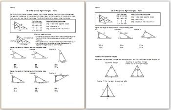 Special Right Triangles Worksheet 30 60 90 Answers by 30 60 90 Special Right Triangles Notes By Eric Douce Tpt