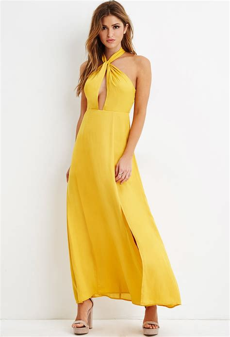 Nora Flow Dress lyst forever 21 side slit halter maxi dress in yellow