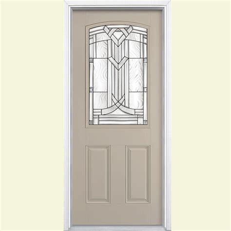 Masonite Exterior Doors Reviews Masonite 36 In X 80 In Oakville Lite Painted Smooth Fiberglass Prehung Front Door With
