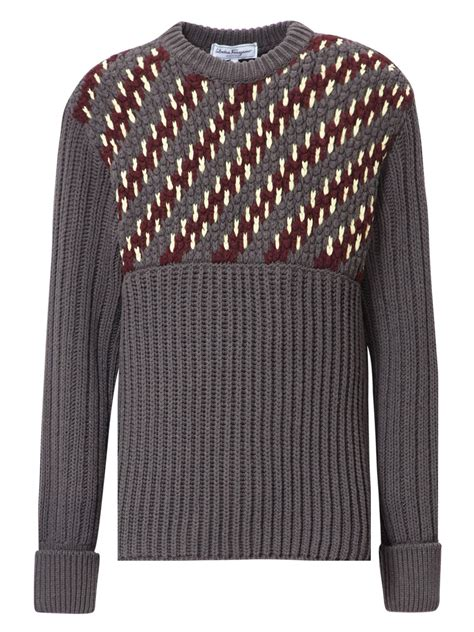 textured knitting wool lyst ferragamo textured wool blend knit in brown for