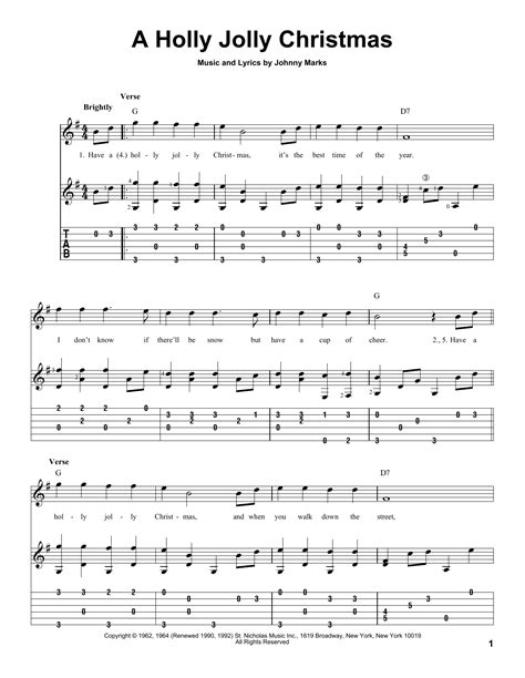 the pattern jolly lyrics a holly jolly christmas guitar tab by johnny marks guitar