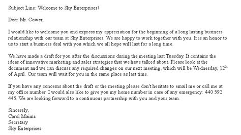 Introduction Letter For Business Cooperation Sle Business Email Slim Image