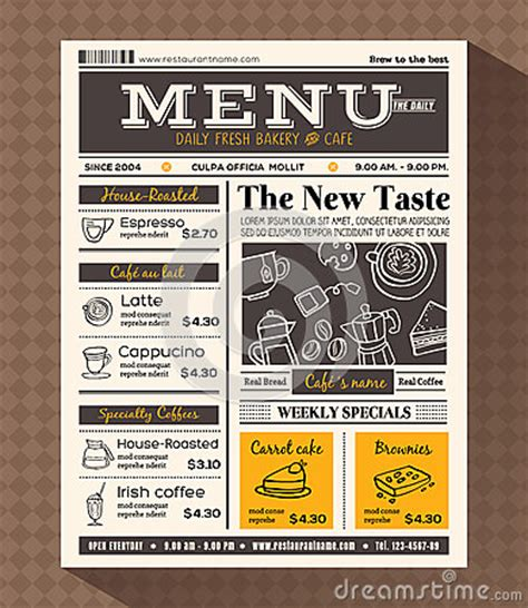 Newspaper Menu Template Restaurant Cafe Menu Design Template Stock Vector Image 75558428