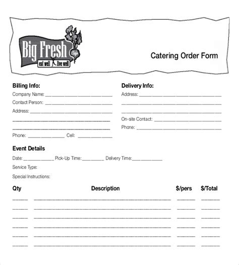 food pre order form template 18 food order templates free sle exle format