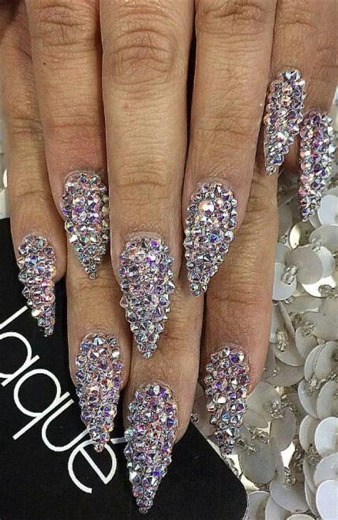 Rhinestone Nail by Rhinestone Glam Glitz Stiletto Nails Laquenailbar Nails