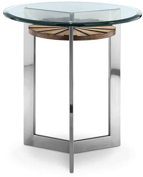 brushed nickel end table rialto toffee and brushed nickel end table mag
