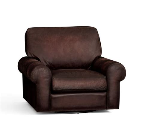 Leather Swivel Armchair by Turner Roll Arm Leather Swivel Armchair Pottery Barn