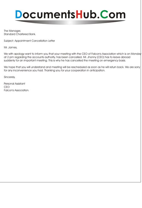 apology letter for cancellation of event meeting cancellation letter sle documentshub