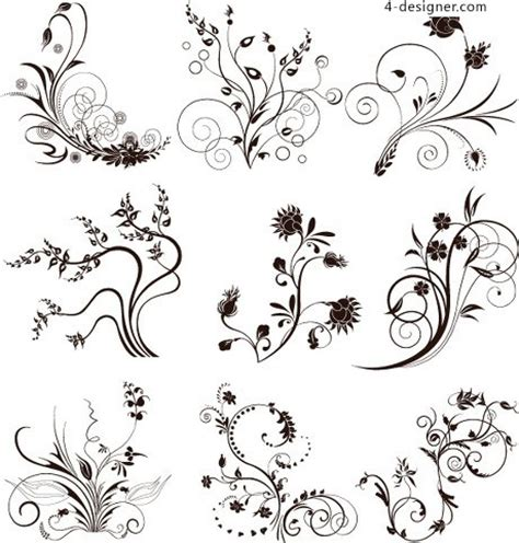pattern flowers line 4 designer black and white lines curl pattern vector