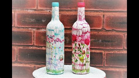 tutorial decoupage botol decoupage bottles with easy crackle decoupage tutorial