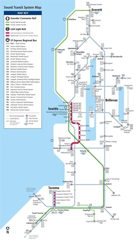 seattle link light rail map seattle express rail and light rail map