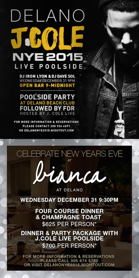 J Cole Calendar J Cole Live Nye 2015 At Delano Tickets Delano South