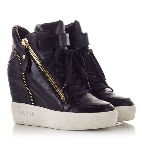 high heel sneakers ash alfa black nappa leather high wedge heel sneakers