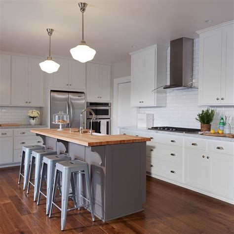 gray kitchen island with butcher block top transitional