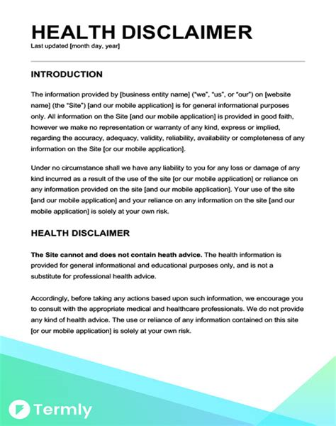 Free Legal Disclaimer Templates Exles Download Now Termly Free Disclaimer Template For Website