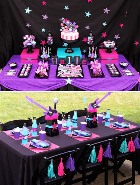 bright girly rockstar birthday party hostess with the