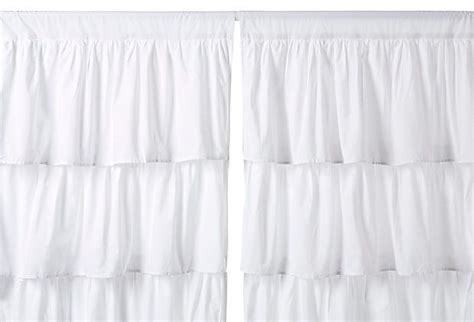 white ruffle curtains 96 ruffle 96 quot cotton curtain panel white