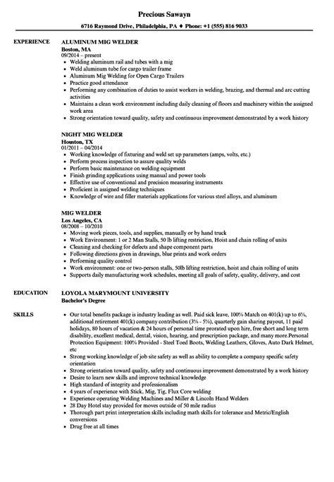 welder resume welder resume template resume sle