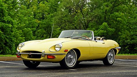 vintage convertible photo jaguar 1968 e type convertible retro yellow cars