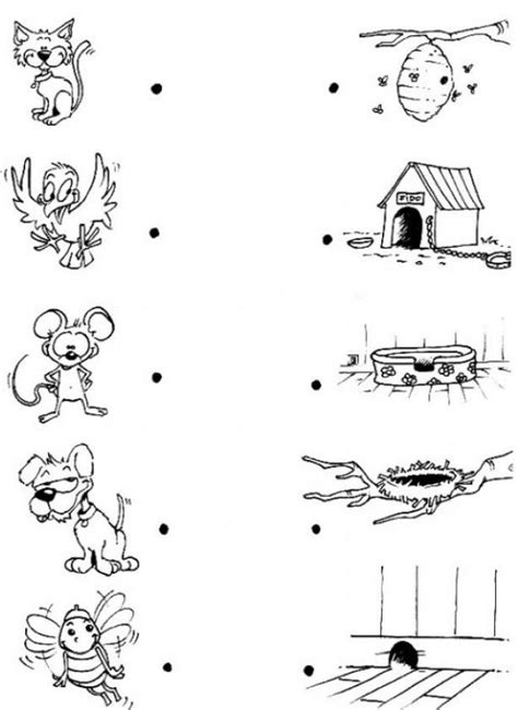 Animal House Coloring Page | link each animal with its house coloring pages hellokids com