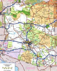 arizona road map with mileage large detailed highways map of arizona state with all