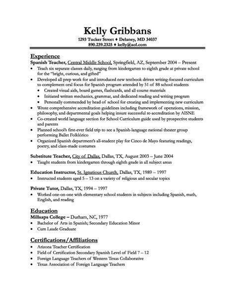 Resume For Teachers by Resume Sle Teaching Randoms