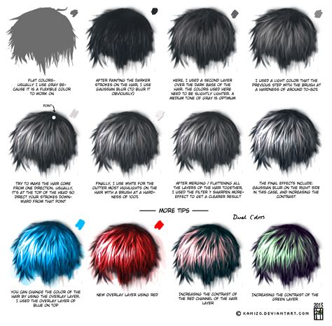 how to shade hair semi realism hair tutorial by kamism on deviantart