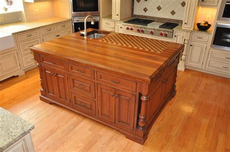 the trendy look of butcher block countertops cabinets by