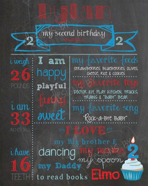 St Nd Rd  Ee  Birthday Ee   Chalkboard Poster Sign Boy Red
