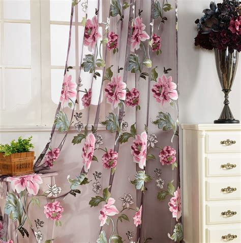floral curtains for living room purple floral tulle curtains for living room bedroom