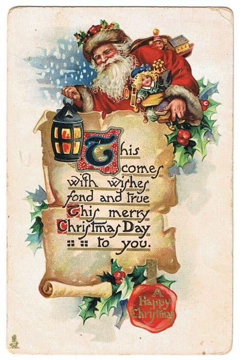 christmas santa claus st nick vintage postcard santa claus jolly  st nick christmas