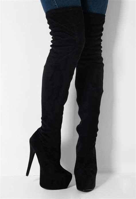 tallahassee black suede thigh high platform boots pink