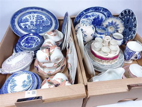 willow pattern en francais early 20th century blue and white willow pattern meat