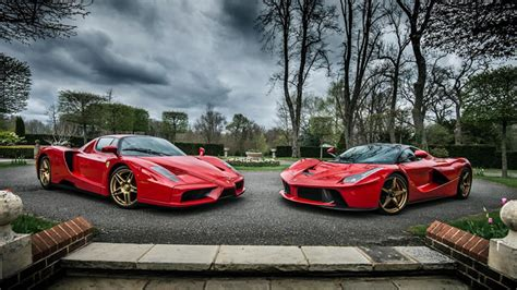 gold laferrari evolution enzo and laferrari roso corsa color