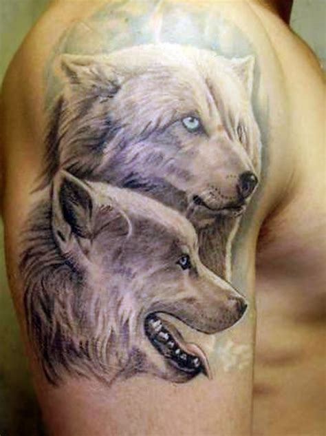 lovely polar wolves tattoo on shoulder tattooimages biz
