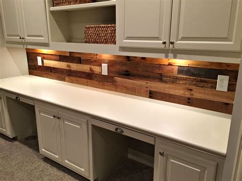 wood backsplash kitchen pallet wood wall with built in desk revival woodworks