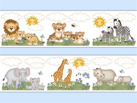 Wallpaper Border Animal safari nursery decor wallpaper border animal decal